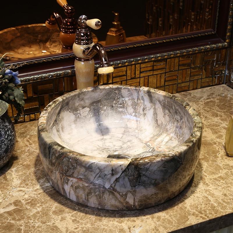 Nouveau Européen moderne salle de bain lavabo, bassin circulaire imitation marbre plate-forme lavabo livraison gratuite