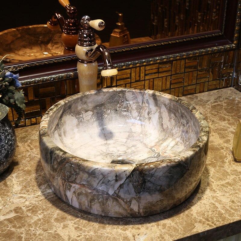 Nouveau Européenne moderne salle de bains de lavage bassin, bassin circulaire imitation marbre plate-forme lavabo livraison gratuite
