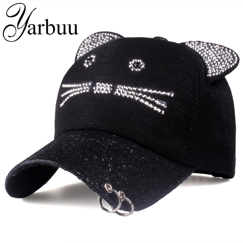 [YARBUU]Brand Baseball Cap 2017 peaked cap Lady sun cap women cat caps high quality casual snapback hat rhinestone hat lady s skullies womail delicate pregnant mothers soft velvet cap maternal prevention wind hat w7