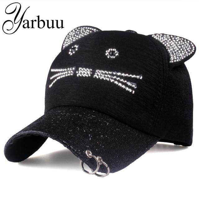 1a76a1b1d3c  YARBUU Brand Baseball Cap 2017 peaked cap Lady sun cap women cat caps high  quality casual snapback hat rhinestone hat