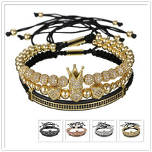 Hip Hop Gold Bracelets Men Jewelry 3PCS/SET Cubic Micro Pave Black CZ Crown Charm Long Tube Macrame Braiding Bracelet Pulseira цены