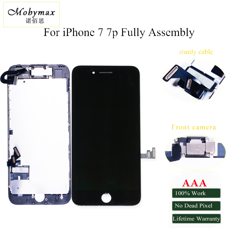 Mobymax retina display For iPhone7 7P LCD Touch Screen Digitizer Complete Assembly with front camera + sensor flex +small parts ...