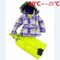 Russian Winter Girl Ski Clothing Set Windproof Outdoor Children Ski Jackets Bib Pants 2pcs Kids Snow