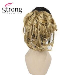 Image 3 - StrongBeauty قصيرة صغيرة الضفائر مزين مستقيم متموجة شعر مستعار لعمل تسريحة ذيل الحصان هيربيسي المخلب كليب اللون الخيارات