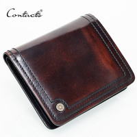 Small Leather Wallet Men Handmade Brush Off Italy Leather Purse Photo Holder Credit Card Holders Brown