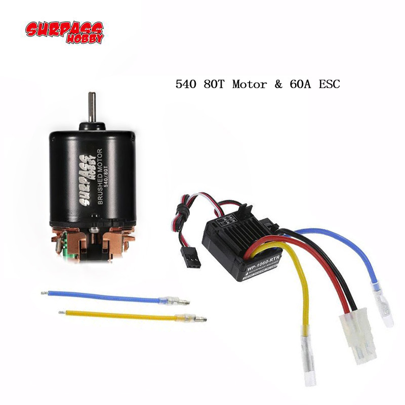 540 80T 55T Brushed Motor w/60A ESC for 1/10 HSP HPI Wltoys Kyosho TRAXXAS TRX4 Redcat D90 D110 SCX10 RC Car Off-road Crawler 4pcs aluminum alloy 52 26mm tire hub wheel rim for 1 10 rc on road run flat car hsp hpi traxxas tamiya kyosho 1 10 spare parts