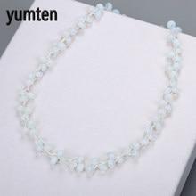 0f2cfefbf205 Yumten collar de ópalo piedra Natural de cristal blanco damas Cadena de  cuentas de moda Pop Día de San Valentín de la joyería de.