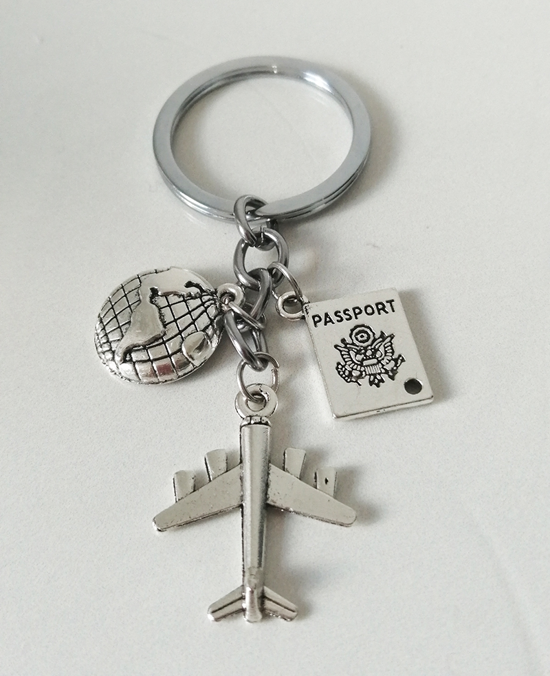 Honeymoon Travel Personality Keychain Flight Attendant Accessories Alloy Keychain Earth Aircraft Passport Combination Gift|Key Chains| |  - AliExpress
