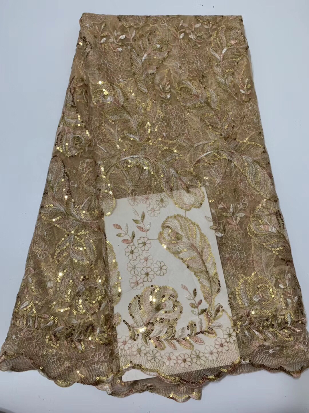 GOLD DESIGNER MOTIF SEQUIN BEADED APPLIQUE 2520-N