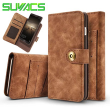 SUYACS Leather Flip Wallet Multifunction Magnetic 2 in 1 Case For