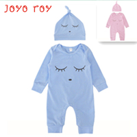2PCS LOT Joyo Roy 2018 New Newborn Baby Cotton Clothes Hat 2 Pieces Set Solid Romper