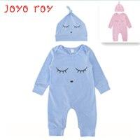 2PCS LOT Joyo Roy 2018 New Newborn Baby Cotton Clothes Hat Solid Long Sleeve Bodysuits Spring