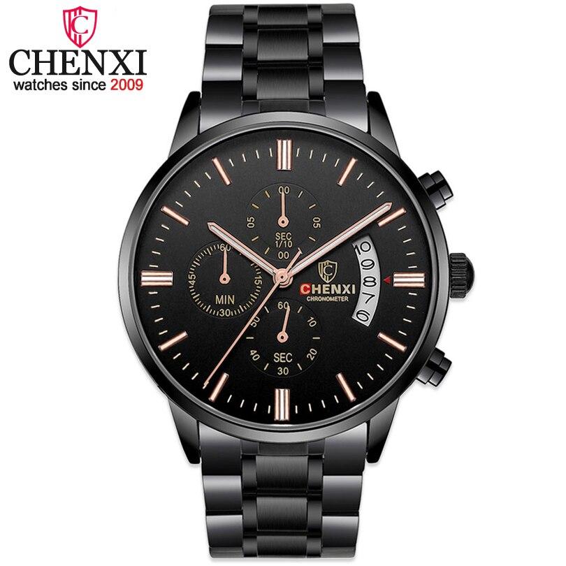 CHENXI montres hombre tous noir acier bande hommes montres mâle quartz multifonction chronographe 2017 hommes de mode de montre-bracelet