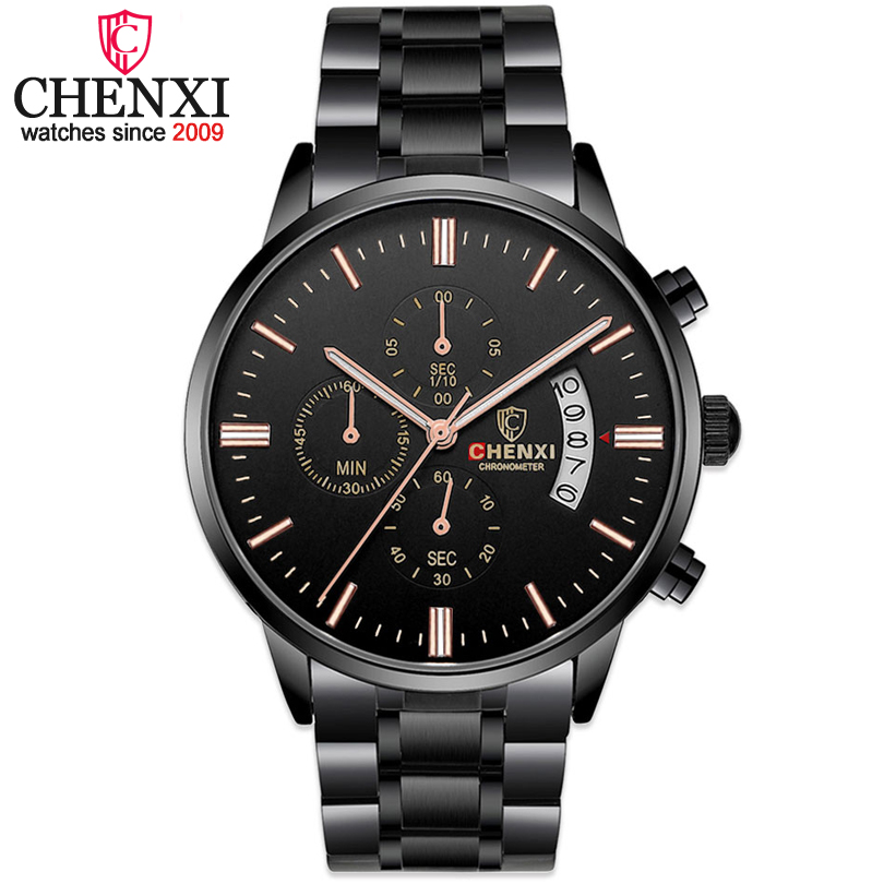 CHENXI relojes hombre all black steel strip men's watches male quartz multifunction chronograph 2017 men fashion wrist watch