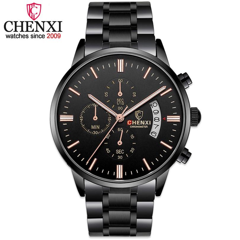 Relojes hombre toda a tira de aço preto relógios dos homens CHENXI masculino multifuncional cronógrafo de quartzo 2017 homens relógio de pulso de moda