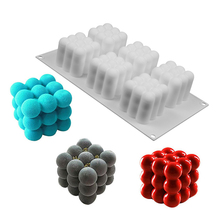 3D Cherry Silicone Cake Mold 6 Holes Baking Mousse Cakes Square Bubble DIY Oven Safe Non-stick Brownie Dessert Molds