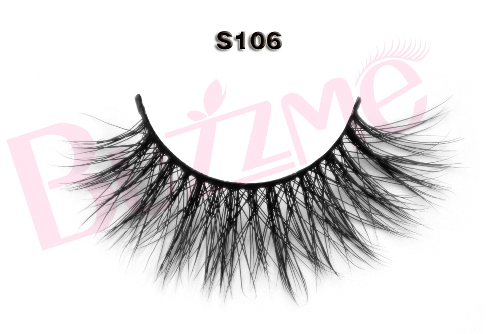 Free shipping wholesale S106 5pcs/lot thick long strip faux mink eyelashes handmade 100% ...