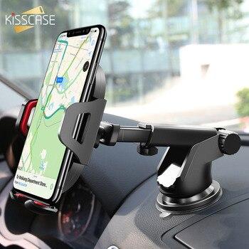 KISSCASE Supporto Del Telefono Dell'automobile Per il iPhone Supporto Regolabile Per Il Telefono in Auto Del Parabrezza Del Basamento Del Supporto Mobile Dell'automobile Smartphone Voiture