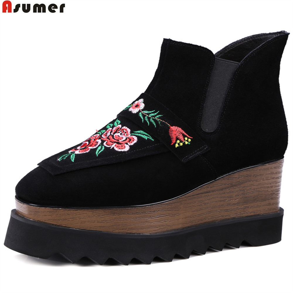 ASUMER black fashion autumn winter new shoes women boots square toe platform wedges shoes genuine leather high heels ankle boots akexiya 2017 new wedges boots fashion flock women s high heeled platform ankle boots lace up high heels spring autumn shoes