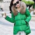 Elexs/cuello de piel gran capucha de piel espesar abrigo de invierno de las mujeres parkas mujeres abrigos de invierno 23