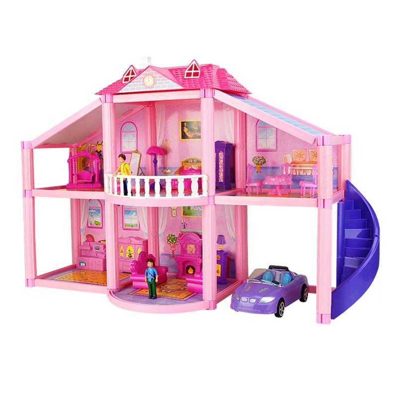 Doll House Realistic 3D Plastic Doll Houses Assemble Dollhouse Two Storey Villa Model Toys for Children