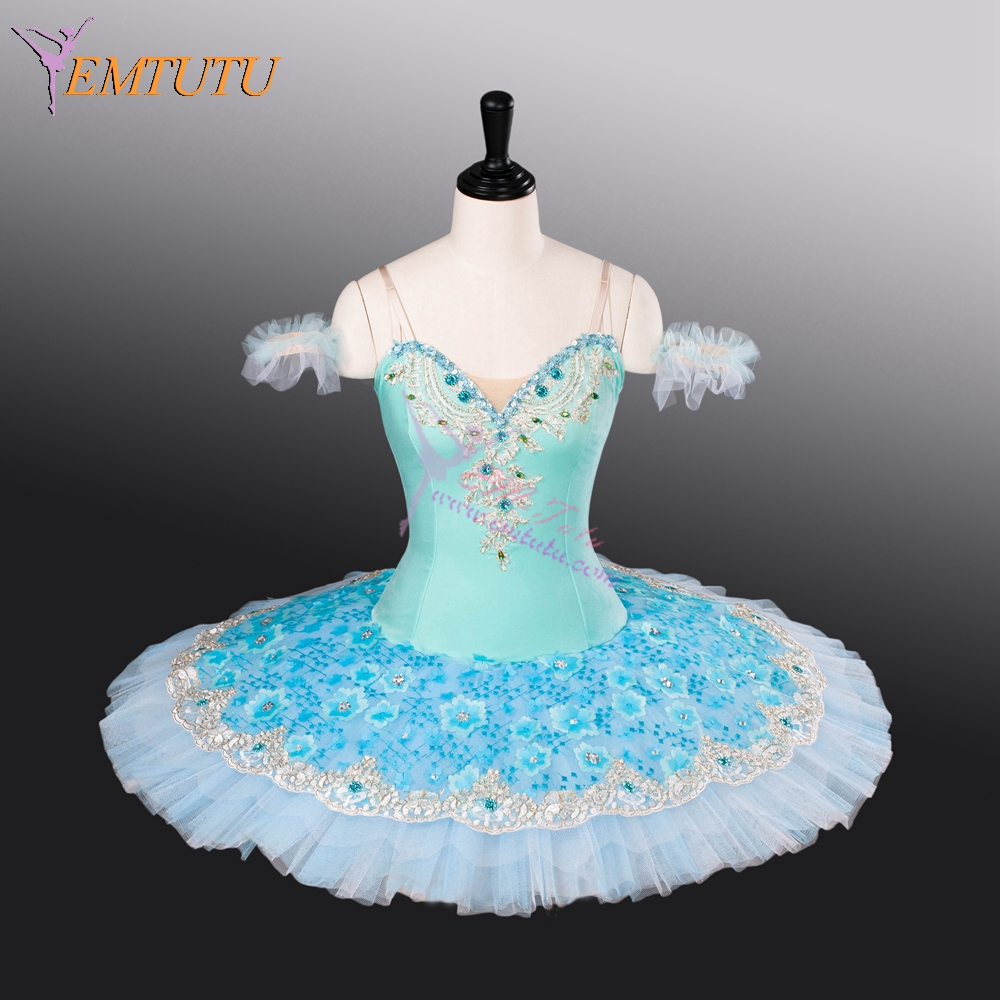 adult professional ballet tutu blue nutcracker ballet stage costumes classical performance stage competition pancake tutus