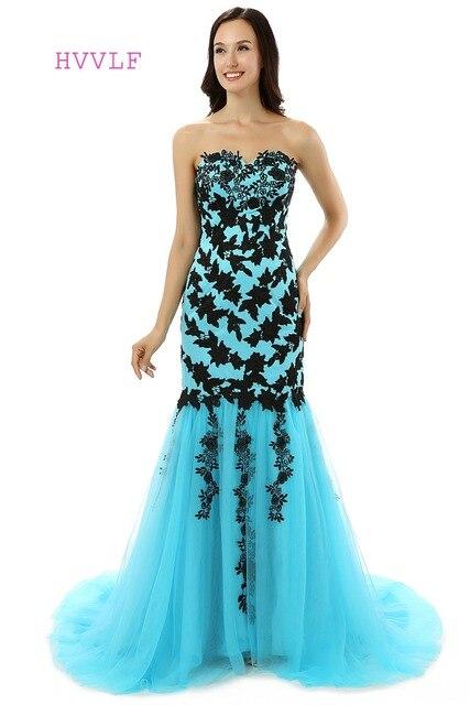 pretty nice 5a910 bfadd HVVLF Blau Elegante Abendkleider 2019 Meerjungfrau Schatz Tulle Spitze  Appliques Lange Abendkleid Prom Kleid