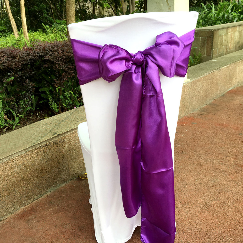 """50 Pieces Purple color 6""""x108"""" Chair Bands Satin Chair Sash Bow Wedding Banquet Supply Decoration"""