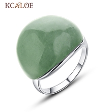 KCALOE Natural Stone Ring Vintage Retro Green Adjustable Size Silver Color Elegant Anniversary Women Big Stone Ring Jewelry