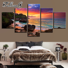FULLCANG 5 piece diy diamond painting sunset glow full square/round drill mosaic embroidery beach waves seascape picture FC716