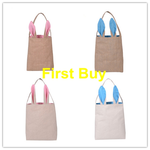 Easter design promotion shop for promotional easter design on 100pcslot free shipping easter bag dual layer bunny ears design easter basket jute material tote bag carrying bags gift bag negle Image collections