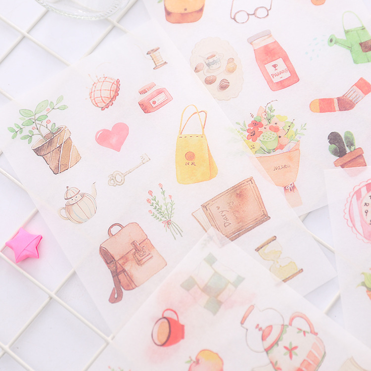 6 Pcs/pack Slow Life Decorative Stickers Adhesive Stickers DIY Decoration Diary Stationery Stickers Children Gift