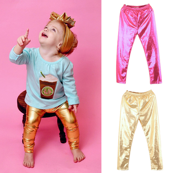 Chic Shinning Girl Leggings Elastic Skinny Pants Gold Silver Kids Metal Colors Sequined Fuax Leather Leggings Bottoms