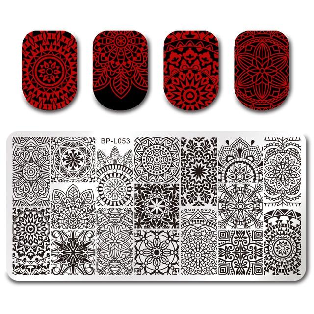Urodzony całkiem Floral Design Nail Art obraz płyta 12*6 cm prostokąt stemplowanie szablon BP-L053