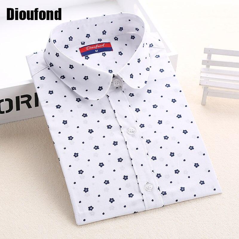 Dioufond mujeres florales blusas polka dot blusa mujeres camiseta de manga larga