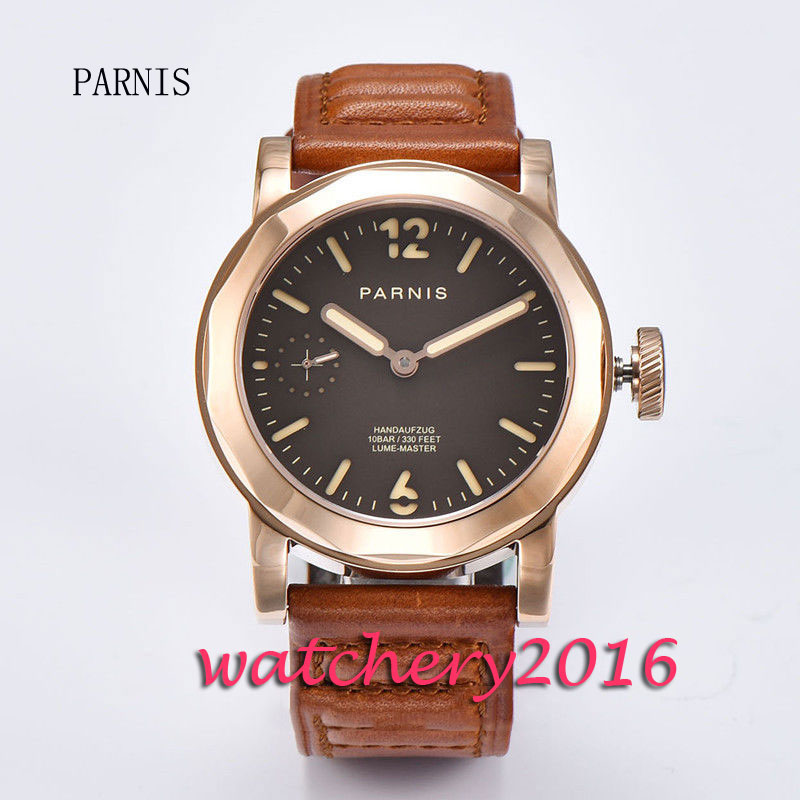 New 44mm Parnis coffee dial rose golden plated case luminous hands 6497 hand winding movement Men's watch 44mm parnis blue dial luxury brand silver hands rose golden plated case luminous marks leather 6497 hands winding men s watch
