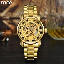 MCE relojes Hombres 2016 de Lujo A Estrenar Completo de Acero Inoxidable Wristatches Mecánico Esquelético Del Oro Del Reloj de Regalo Resistente Al Agua Para Los Hombres