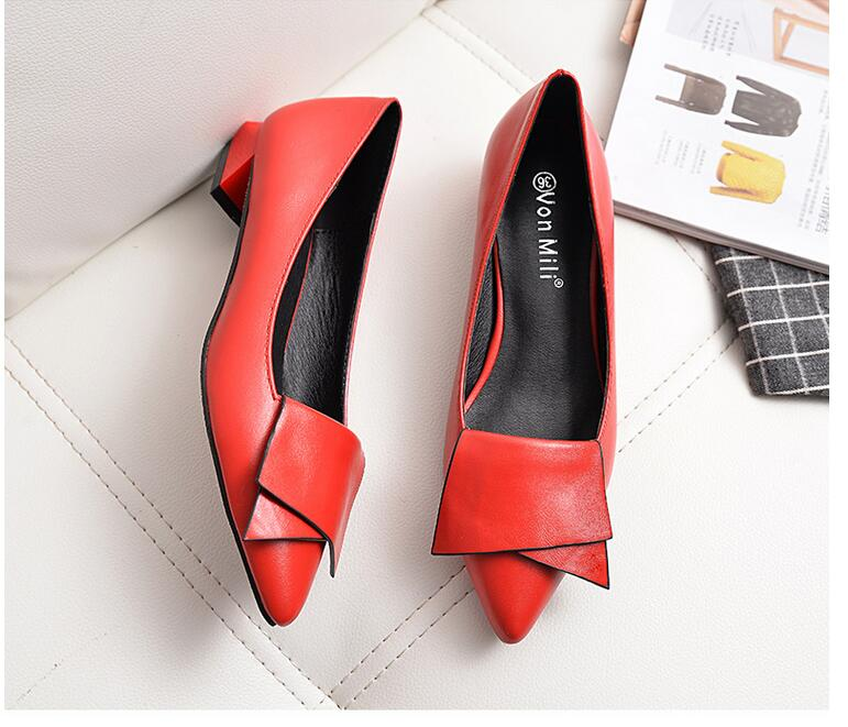18 Leather Flat Shoes pointed toe With low Woman Loafers Cowhide Spring Casual Shoes Women Flats Women Shoes B222 11