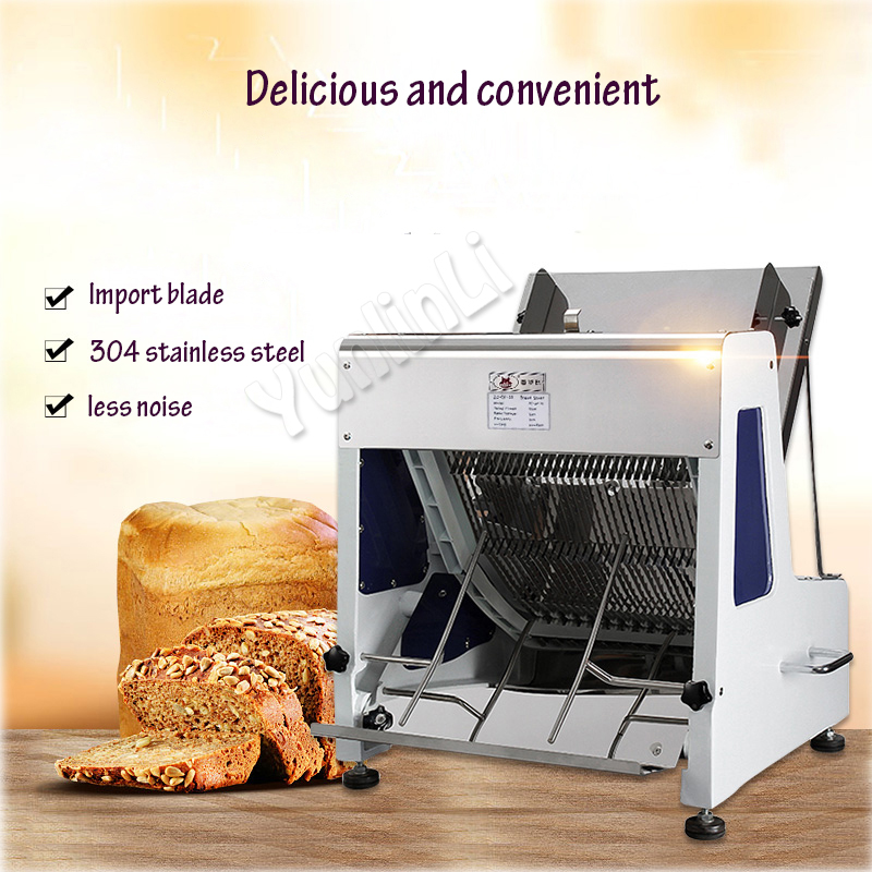 250W Electric Bread Slicer Commercial Bread Cutter 31 Slices Loaf Toast Cutter Stainless Steel Bread Processing Machine Q31