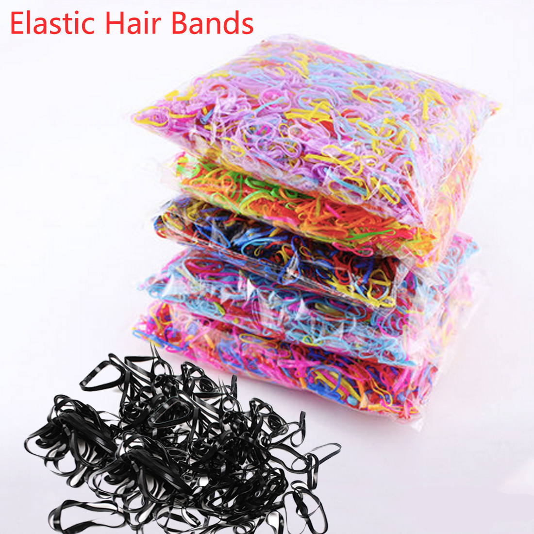 Cute Girls Colourful Ring Disposable Elastic Hair Bands Ponytail Holder Rubber Band Scrunchies Kids Hair Accessories in Hair Accessories from Mother Kids