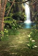 Laeacco Dreamy Jungle Waterfall Flower Grass Scene Photographic Backgrounds Customized Photography Backdrops For Photo Studio