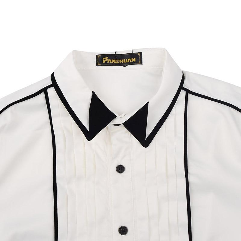 Fanzhuan Freies Verschiffen männer frühjahr männlichen mode herbst kleid weiß falten geometrische design Koreanischen stil lange ärmeln 14252 hemd-in Legere Hemden aus Herrenbekleidung bei  Gruppe 3