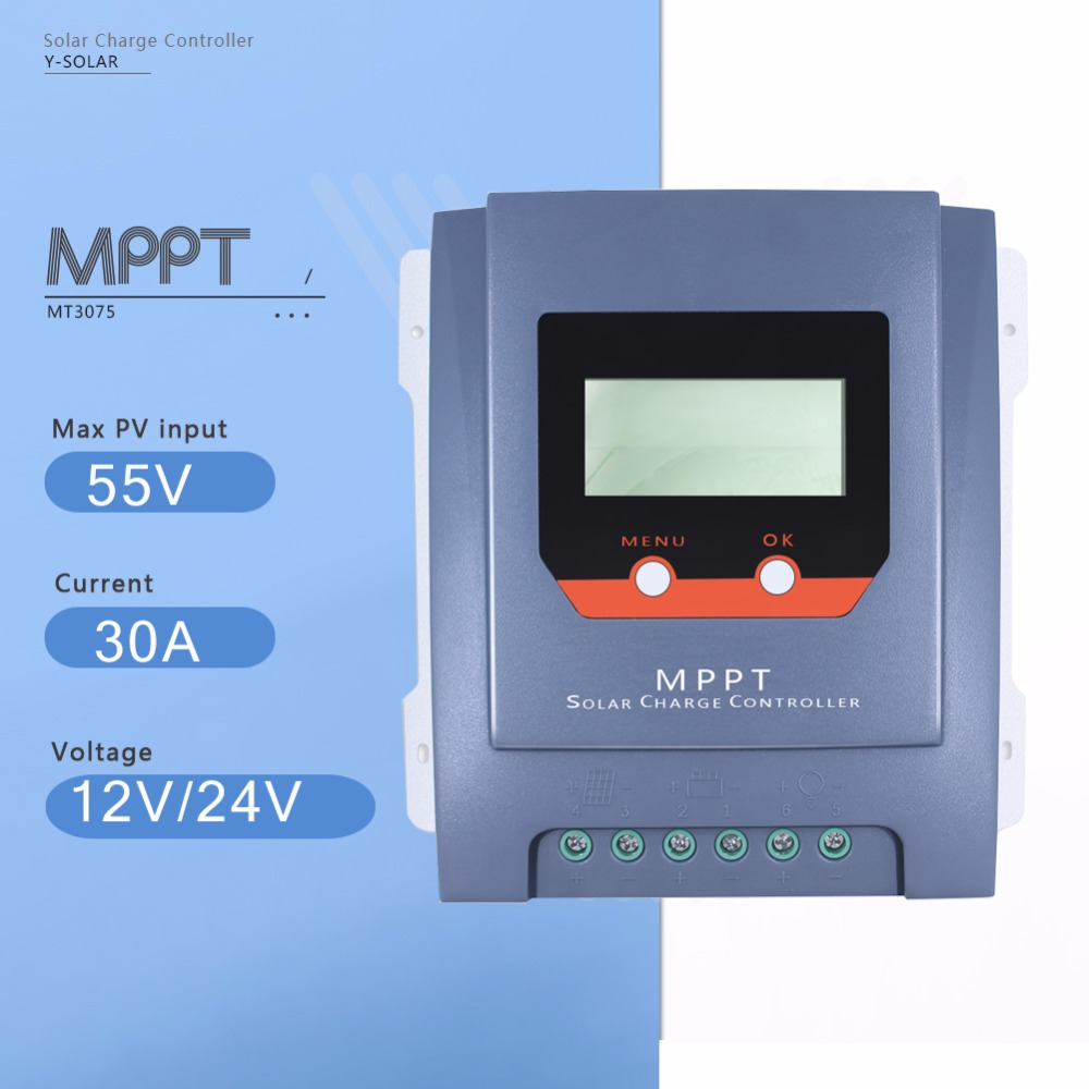 MPPT 30A Solar Charge Controller 12V/24V Auto Solar Panel Battery Charge Regulator with LCD Display Real-time Energy Statistics lcd 30a 12v 24v mppt solar panel regulator charge controller