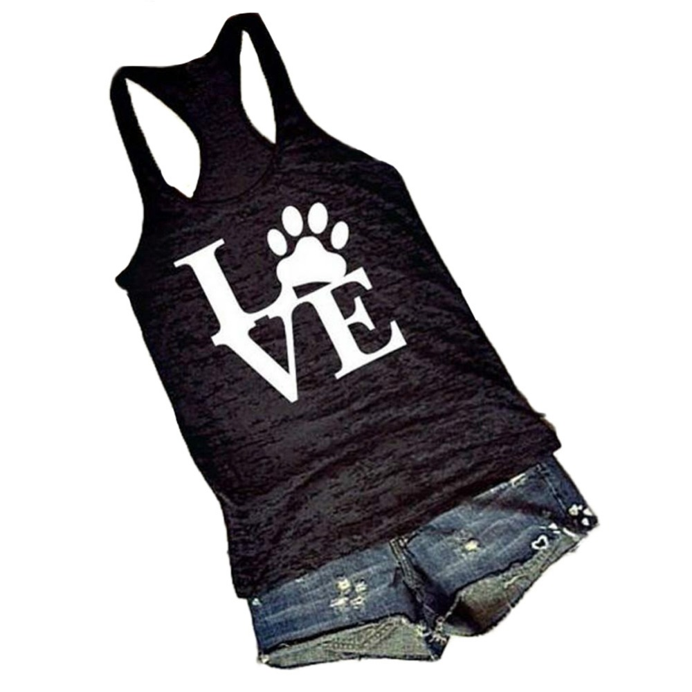 2017 Hot Sale Popular Women Tank Tops Bear Paw LOVE Vest Black and White