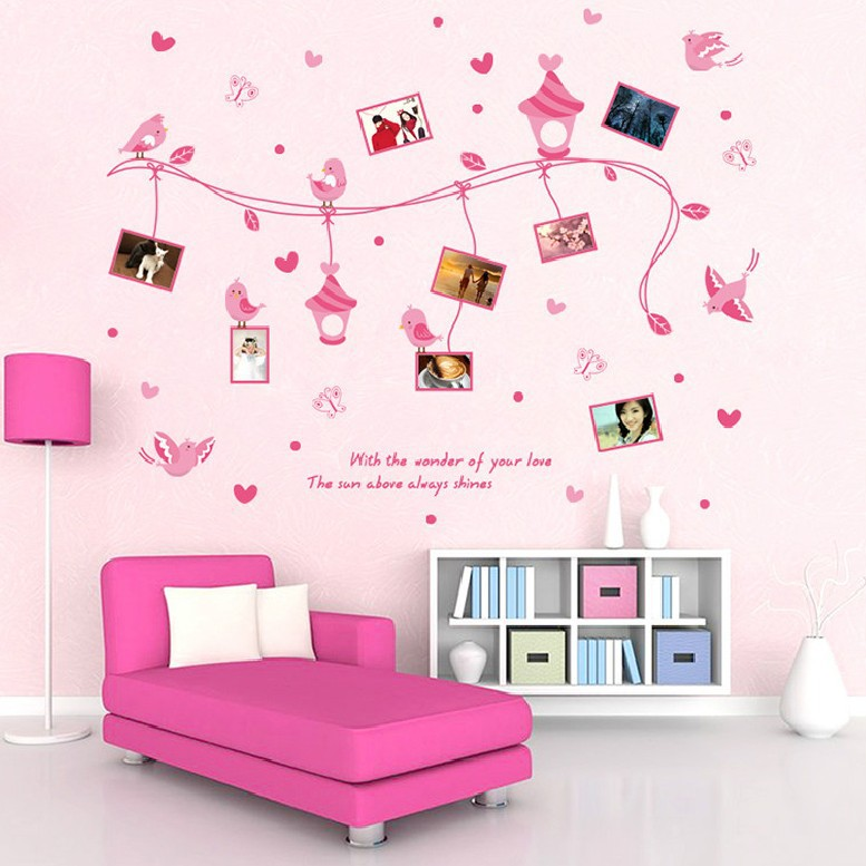 Pink Photo frame wall stickers self adhesive removable ...
