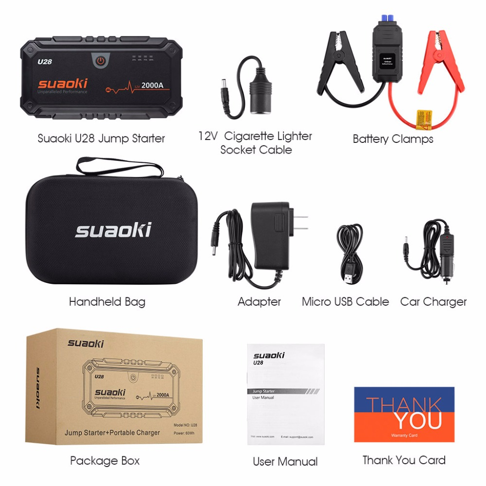 Suaoki U28 2000A Spitzen Jump Starter Pack Portable Power Bank LED Taschenlampe Smart Batterie Klemmen für 12V Auto Boot UNS EU AU Stecker - 6