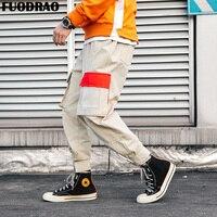 FUODRAO Patchwork Pockets Cargo Harem Pants Mens Hip Hop Sweatpants Jogger Japanese Trousers Harajuku Streetwear Men Pants K198