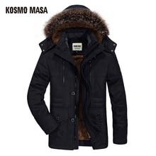 KOSMO MASA 2018 Cotton Hooded Winter Jacket Men Warm 6XL Long Parka Hooded Jackets Man Coats Casual Fur Down Parkas Mens MP012