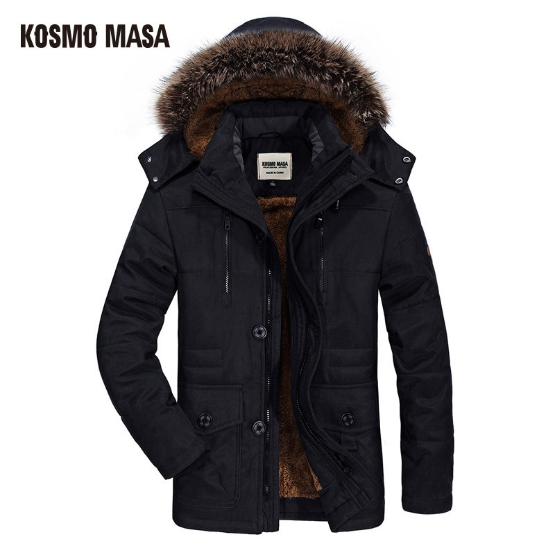 KOSMO MASA 2018 Cotton Hooded Winter Jacket Men Warm 6XL Long   Parka   Hooded Jackets Man Coats Casual Fur Down   Parkas   Mens MP012