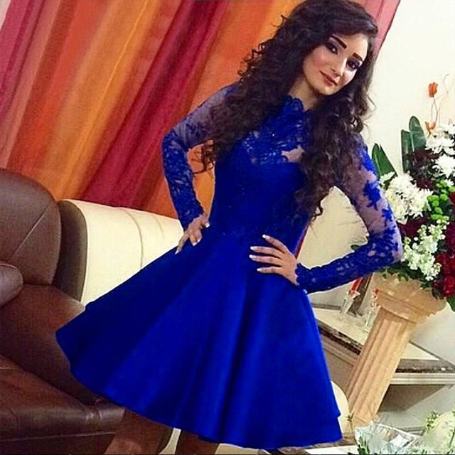 c6c33f1012 Royal Blue High Neck Lace Bodice Short Cocktail Dress With Sheer Long Sleeve  Party Dresses